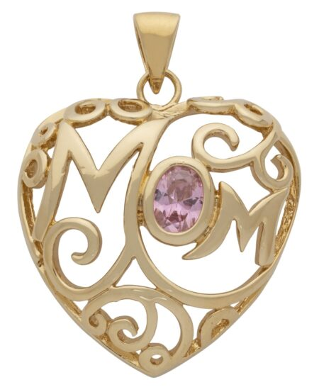 'Mom' with Pink CZ Oval Stone Pendant