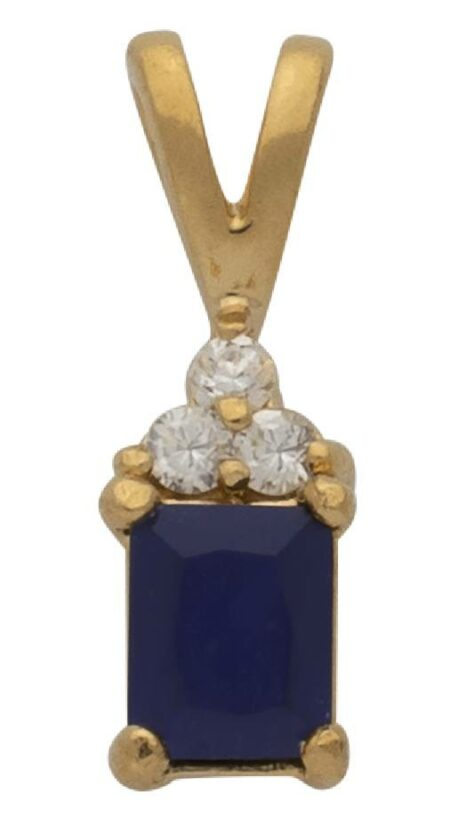 CZ Blue Rectangle Pendant