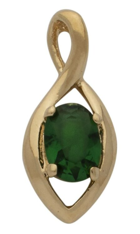 CZ Green Oval Pendant