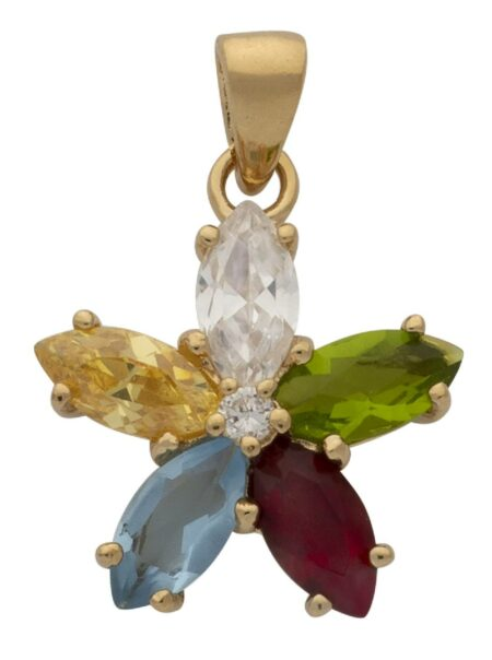 CZ Multi-Colored Stone Flower Pendant