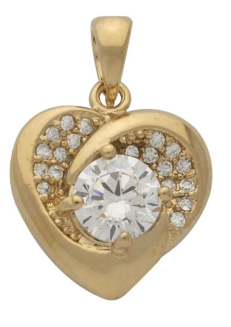 CZ Heart with Round Center Stone Pendant