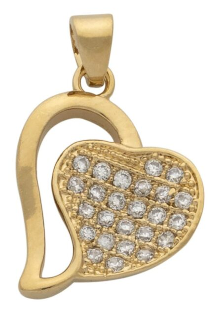 Open Heart with Solid CZ Heart Pendant