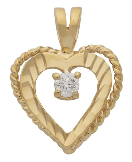 CZ Diamond Cut Heart Pendant