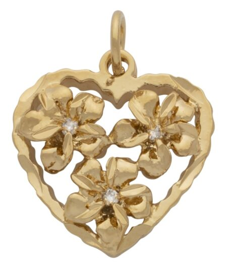 CZ Heart and Flower Pendant