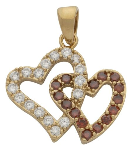 CZ/Red Double Heart Pendant