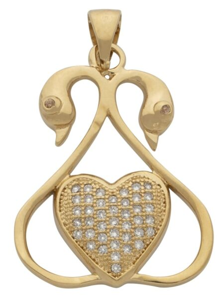 Double Swan Pendant with Solid CZ Heart Center