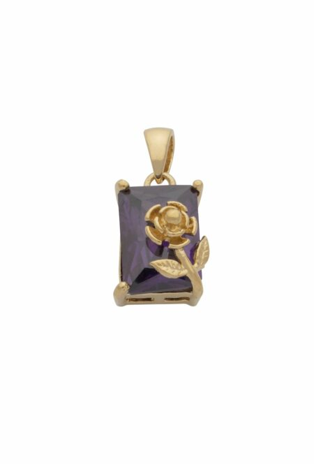 CZ Purple Square Box & Flower Pendant