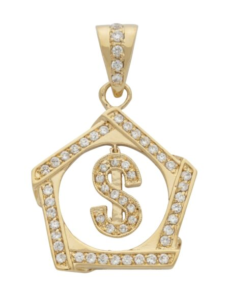 CZ Framed $ Sign Pendant