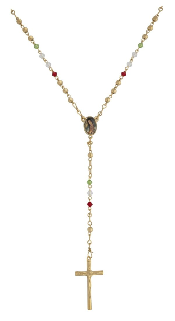 21' Rosary Gold Bead with Red/Clear/Green Crystal Beads